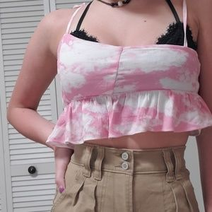 Dollskill cloud print pink top size small